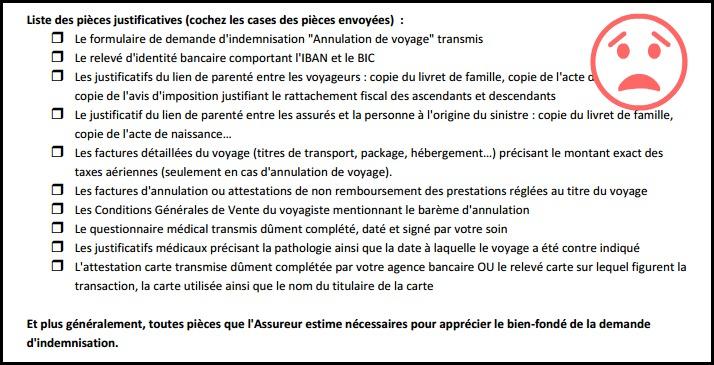 Liste justificatifs annulation voyage