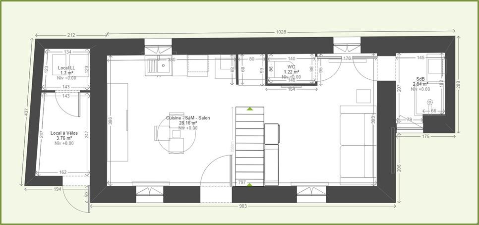 Plan du gîte réalisé avec KoziKaza